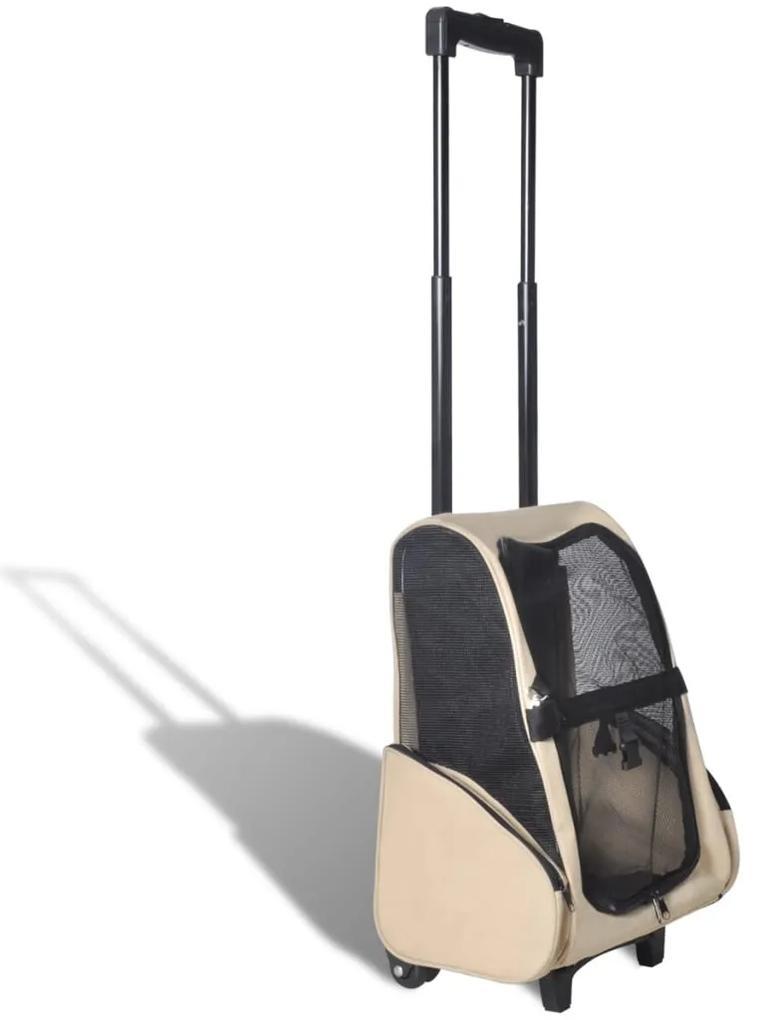 vidaXL Béžový skladací viacúčelový vozík pre domáce zvieratá