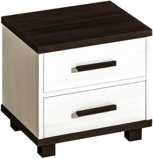 DL Nočný stolík Alan 10 Farba: Biela/tmavohnedá