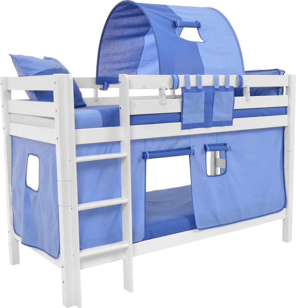 MAXMAX Detská poschodová posteľ s domčekom BLUE - MARK 200x90cm - biela 200x90 pre všetkých NIE