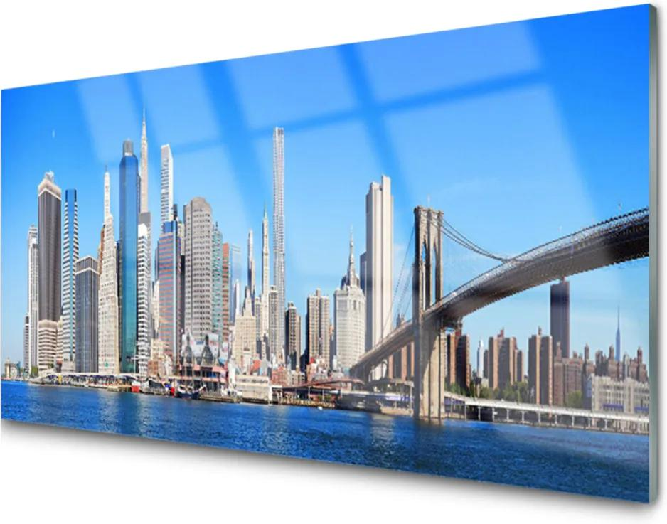 Obraz na skle Most město architektura