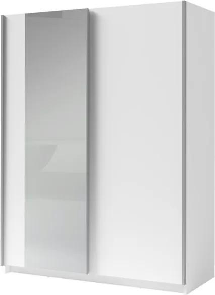 Sconto Šatníková skriňa so zrkadlom SPLIT biela, šírka 150 cm