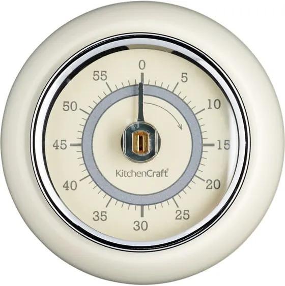 Kuchynská magnetická minútka v krémovej farbe Kitchen Craft Living Nostalgia, ⌀ 7,5 cm