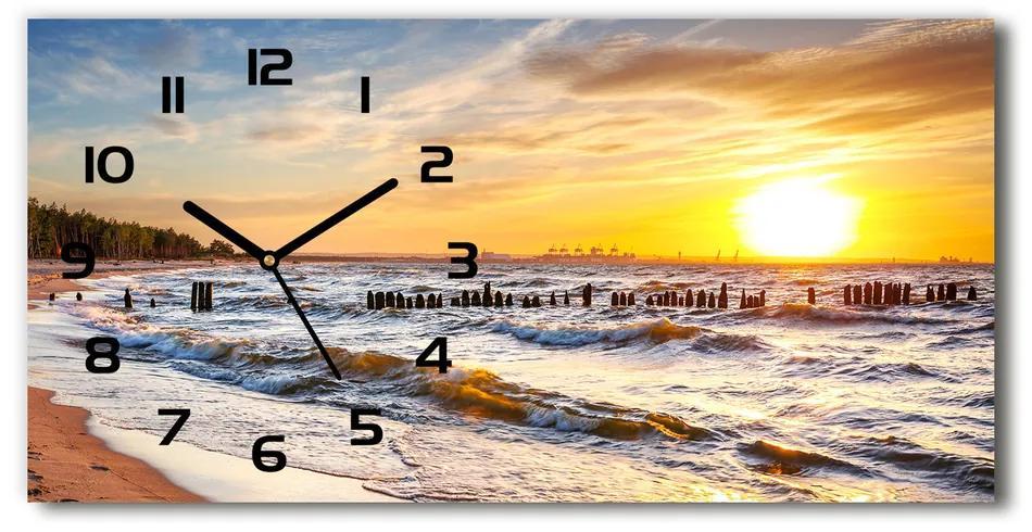 Sklenené hodiny na stenu Západ slnka pláž pl_zsp_60x30_f_67409606