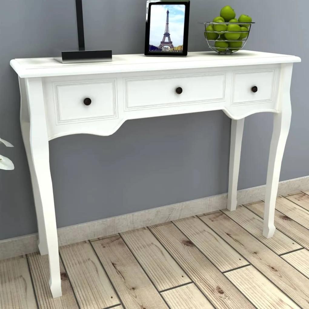 vidaXL Konzolový stolík s 3 zásuvkami, biely