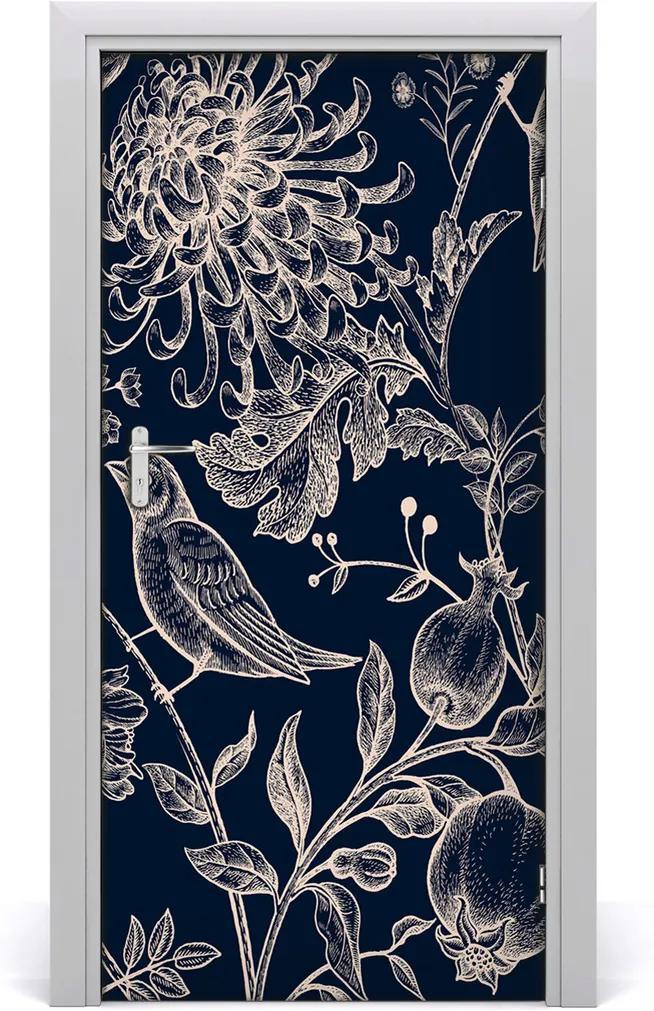 Samolepiace fototapety na dvere  kvety a vtáky