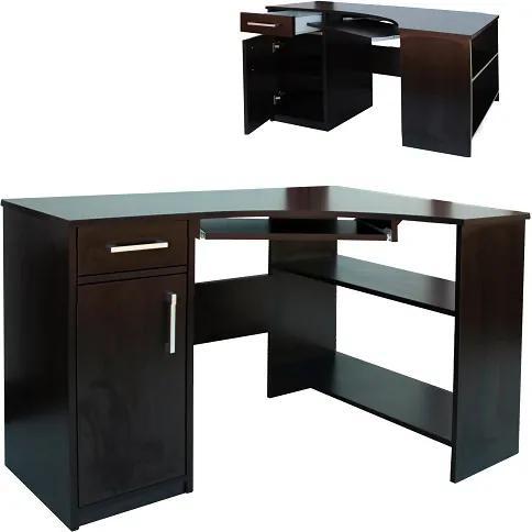 Veľký rohový počítačový stôl so zásuvkou pre klávesnicu - Buk