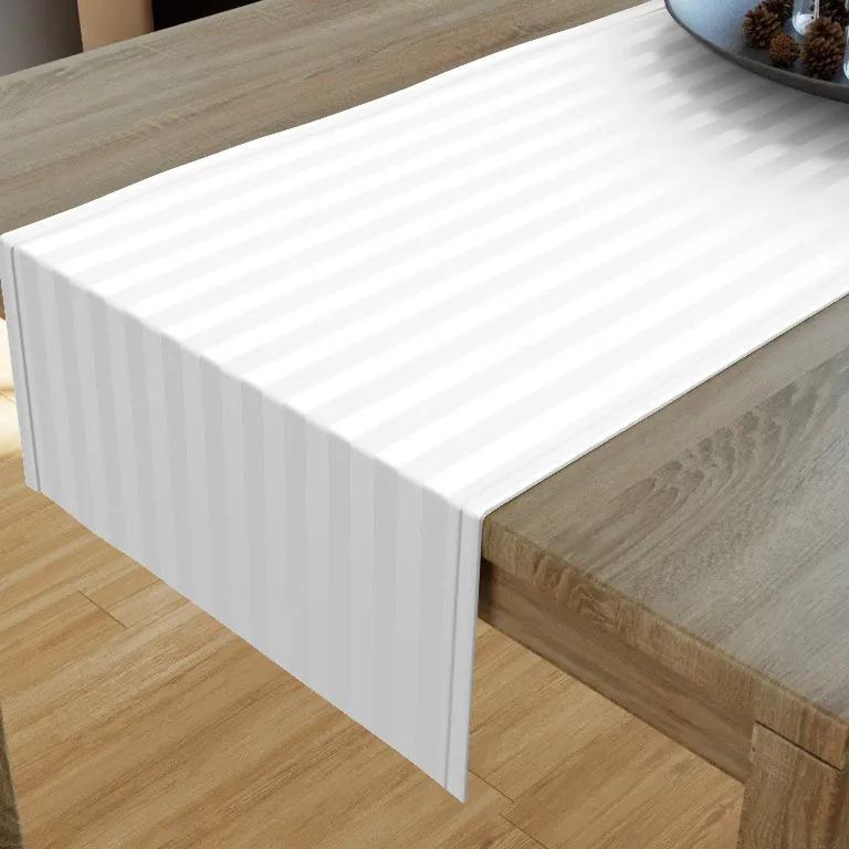 Goldea damaškový behúň na stôl - vzor biele prúžky 20x120 cm