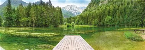 Papierové fototapety Green Lake, rozmer 368 cm x 127 cm, fototapety KOMAR 4-538
