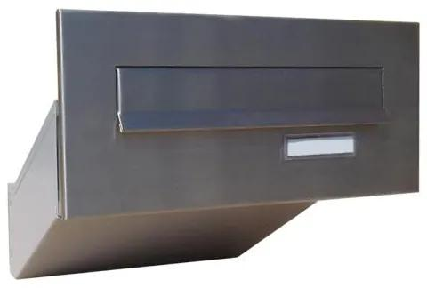 Nerezová poštová schránka DLS-D-042 šikmá na zamurovanie do stĺpika, čelná doskas menovkou