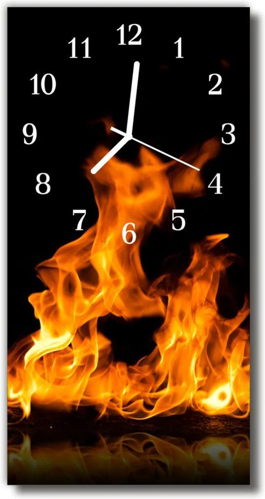 Skleněné hodiny vertikální Ohnivý krb. Barevný plamen