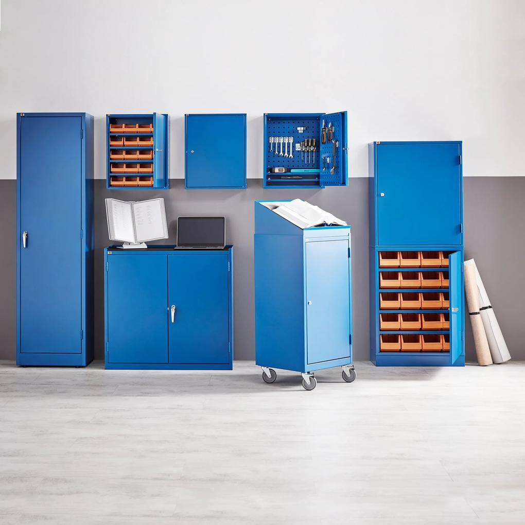 67d93221310ea Kovová skrinka na náradie, 2 zásuvky, 900x950x450 mm, modrá | Biano