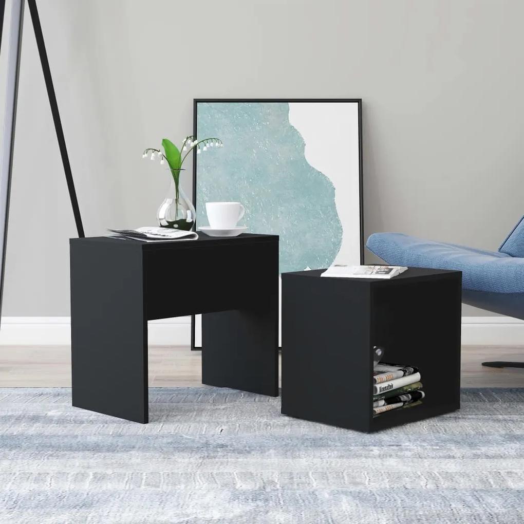 vidaXL Sada konferenčných stolíkov čierna 48x30x45 cm drevotrieska