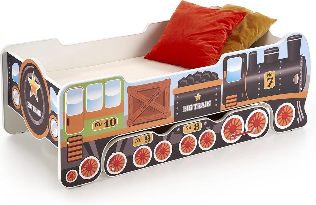 MAXMAX Detská posteľ so zásuvkou LOKOMOTIVA 140x70 cm + MATRACE 180x70 pre chlapca NIE