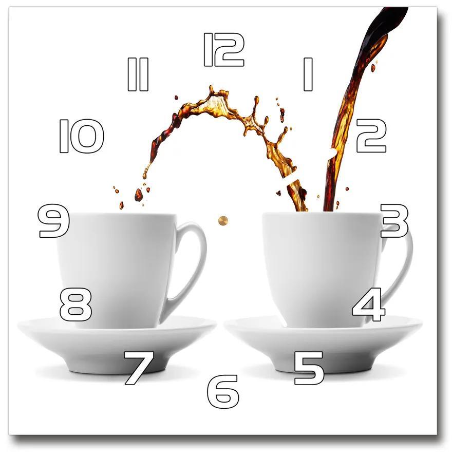 Sklenené hodiny štvorec Tečúca káva pl_zsk_30x30_f_113588261