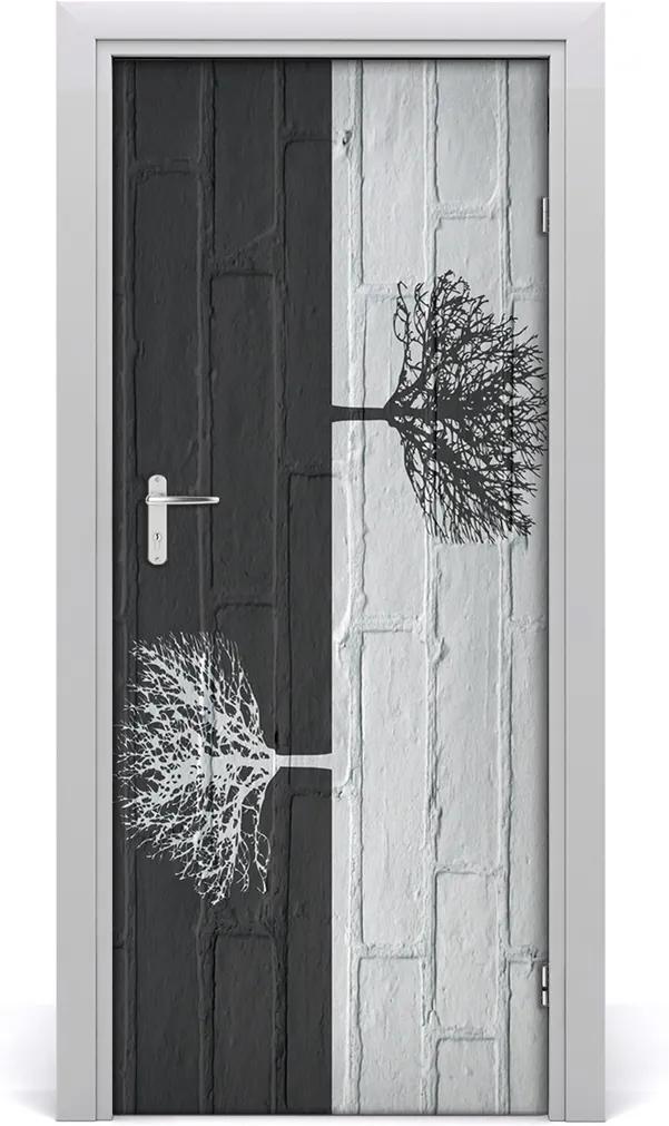 Samolepící fototapeta na dveře Stromy na zdi