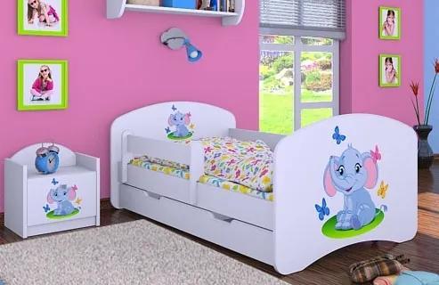 MAXMAX Detská posteľ so zásuvkou 180x90cm SLON A MOTÝLIKY
