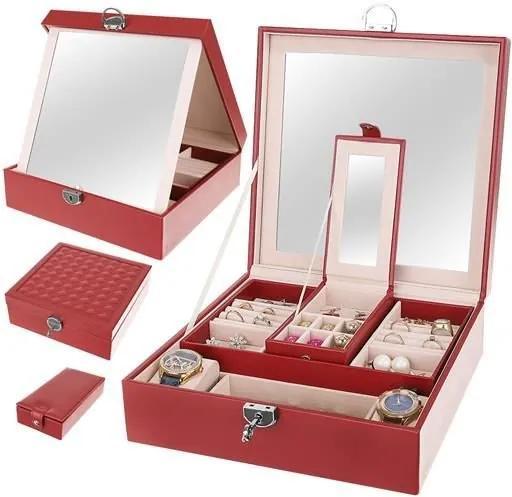 Beautylushh Luxusné šperkovnice so zrkadlom, bordo, 8891