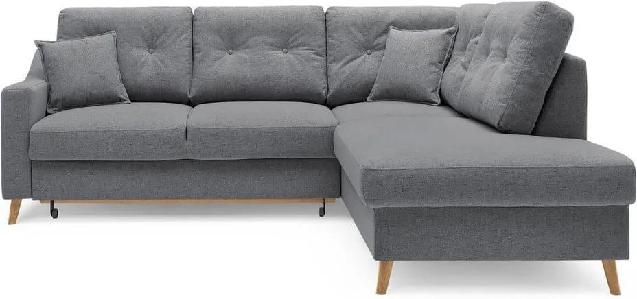 Sivá rozkladacia rohová pohovka Bobochic Paris Sweden L, pravý roh, 234 cm