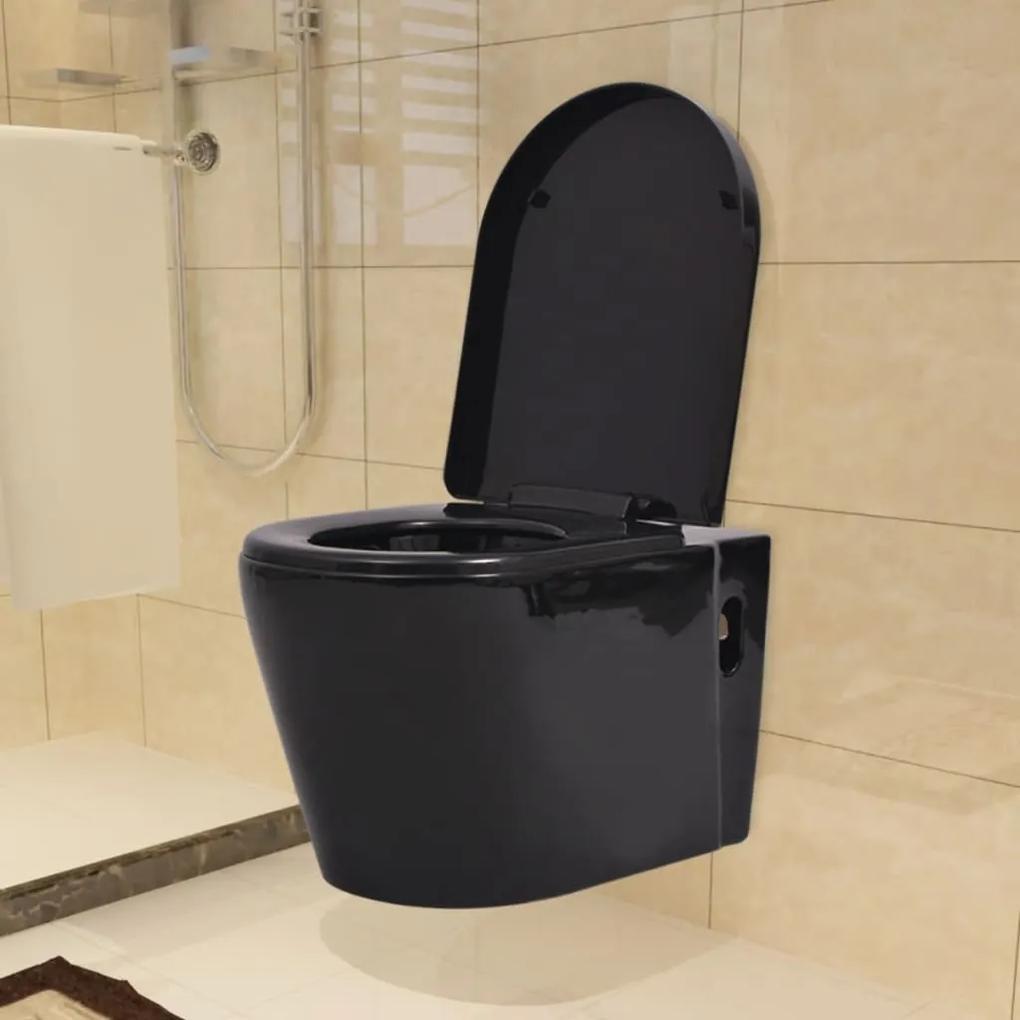 vidaXL Keramické závesné WC, čierne