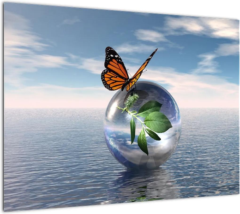 Obraz motýľa na sklenenej guli (70x50 cm), 40 ďalších rozmerov