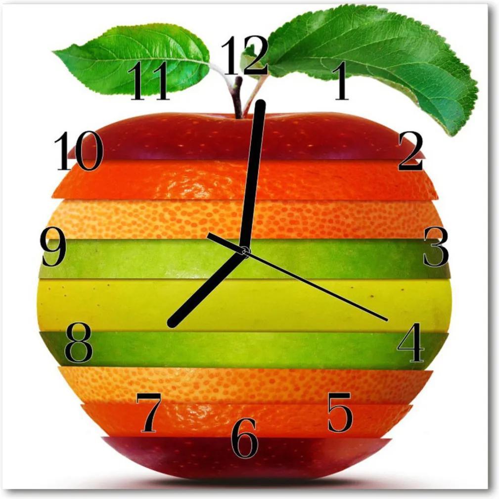 Skleněné hodiny čtvercové jablko