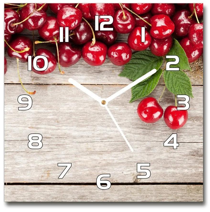 Sklenené hodiny štvorec Višne na dreve pl_zsk_30x30_f_66878526