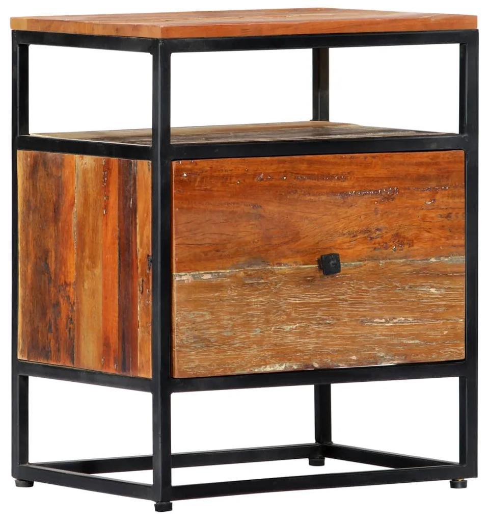 vidaXL Nočný stolík 40x30x50 cm masívne recyklované drevo a oceľ