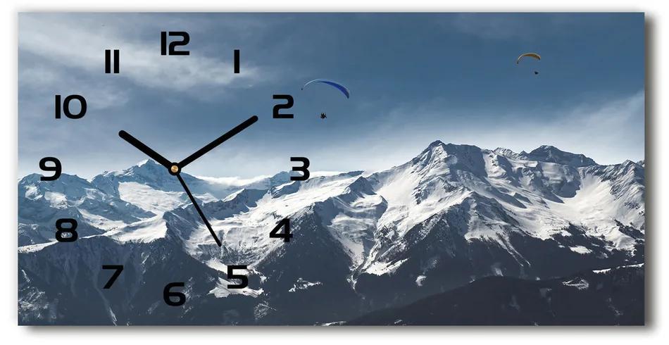 Sklenené hodiny na stenu Paragliding Alpy pl_zsp_60x30_f_175499481