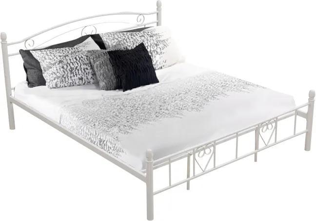 TEMPO KONDELA Brita 180 kovová manželská posteľ s roštom biela