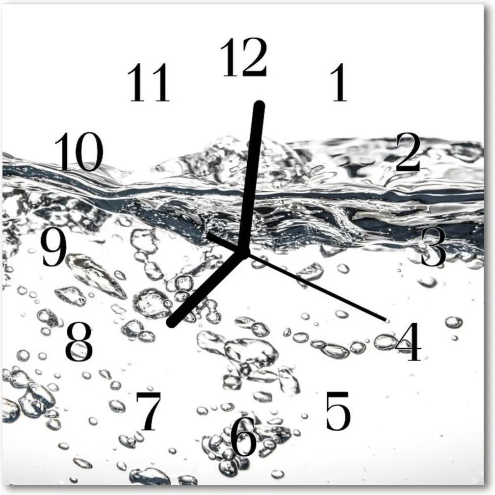 Nástenné skleněné hodiny voda