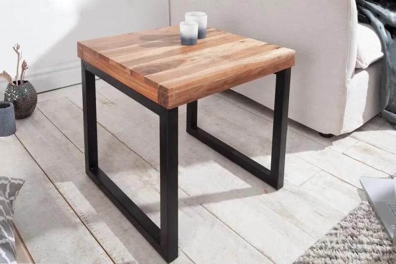 IIG -  Priemyselný príručný stolík ELEMENTS 45 cm akáciové drevo