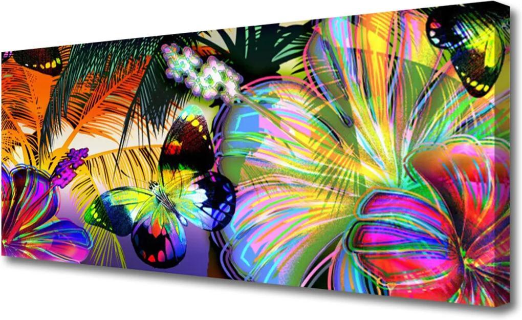 Obraz Canvas Abstrakce motýli pírka