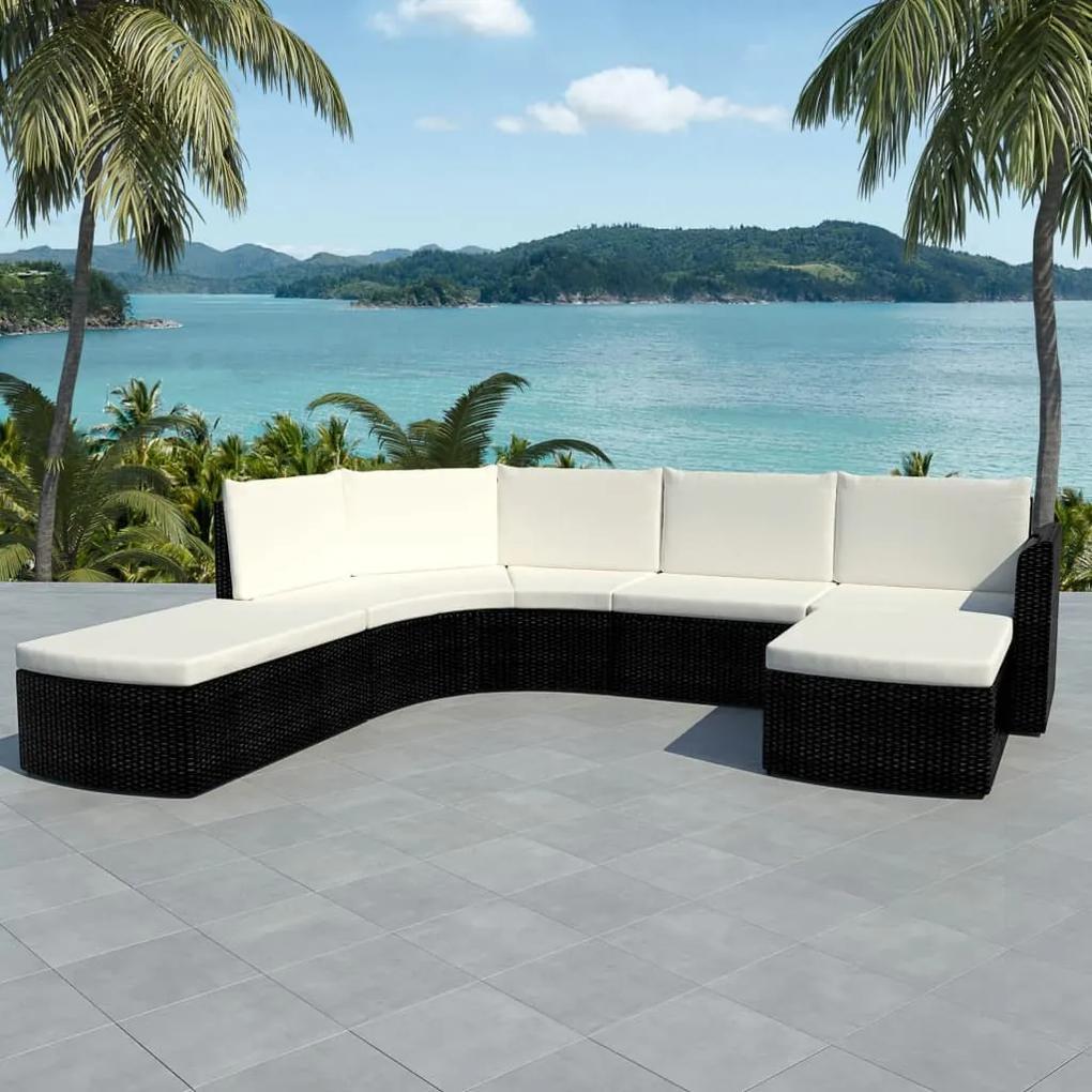 vidaXL Záhradná 16-dielna polyratanová sedacia súprava, čierna
