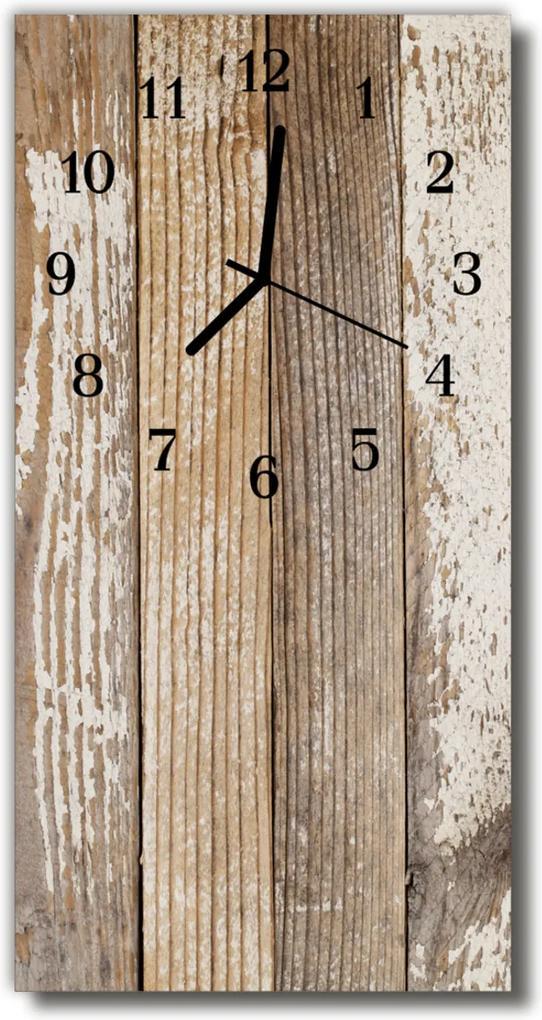 Sklenené hodiny vertikálne  hnedé drevo