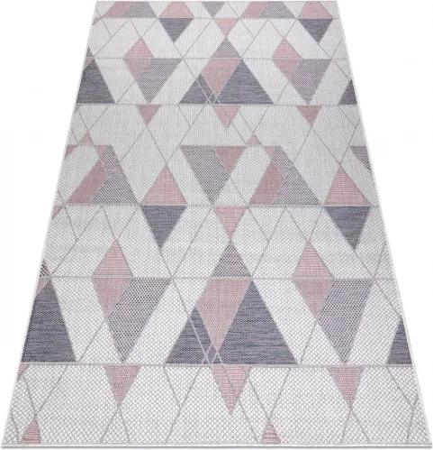 Koberec SIZAL SION Geometric 3006 ecru/rúž - 80x150 cm