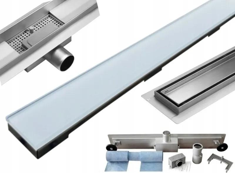 MEXEN Flat nerezový sprchový žľab 80 cm vzor biele sklo, 1027080-15