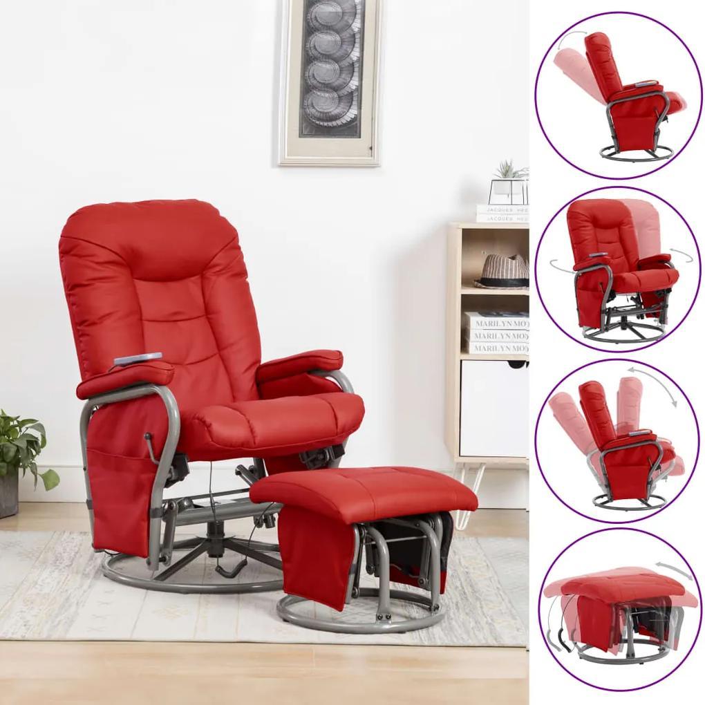 vidaXL Sklápacie masážne kreslo s podnožkou, červené, umelá koža