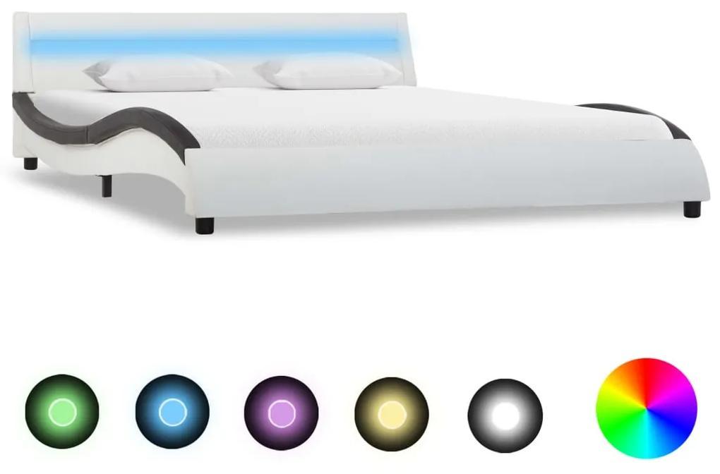 vidaXL Posteľný rám s LED, bielo čierny, umelá koža 120x200 cm