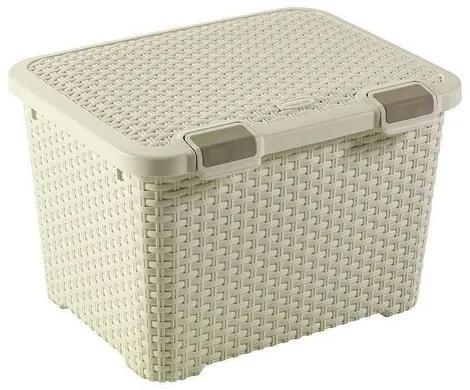 Curver úložný box Rattan style 43 l, krémová