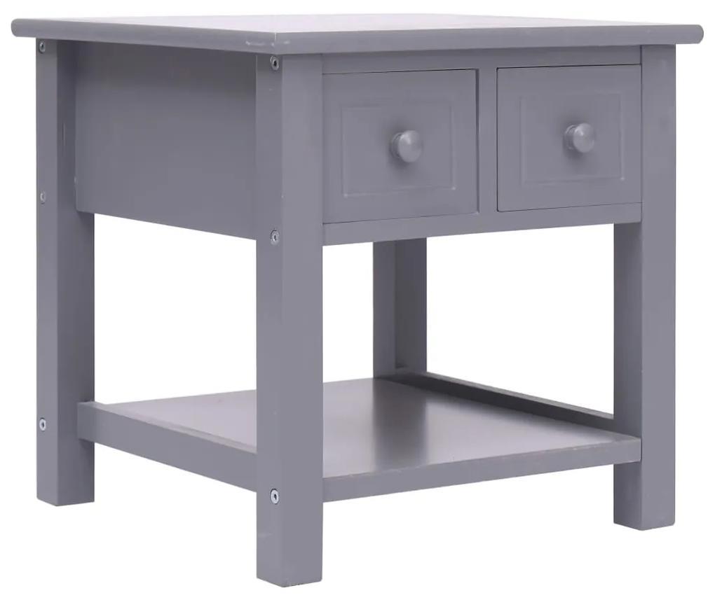 vidaXL Príručný stolík sivý 40x40x40 cm drevo paulovnie