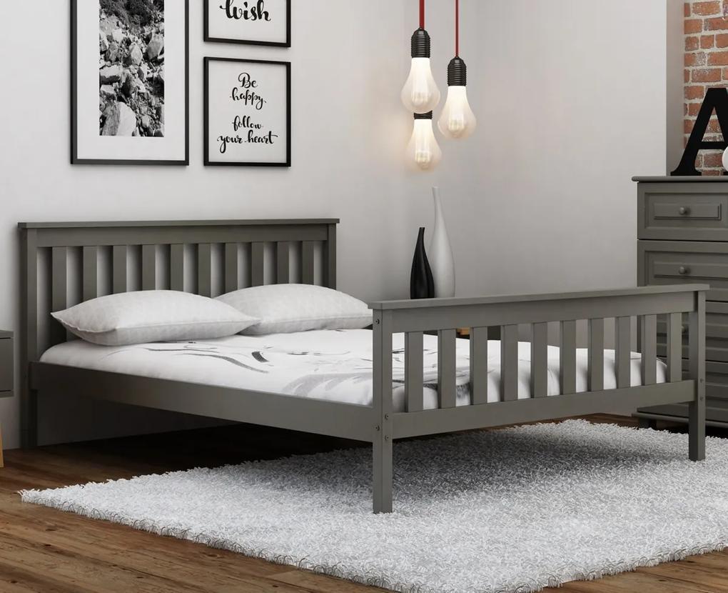 AMI nábytok Šedá dřevěná borovice postel Naxter 90x200