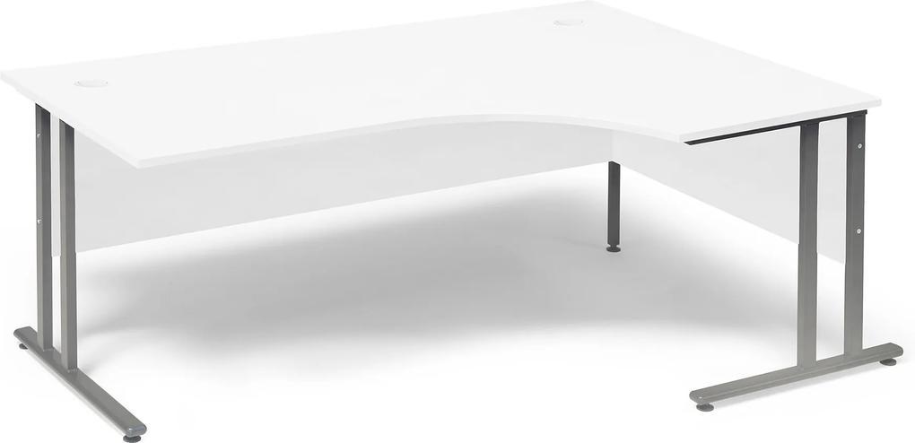 Kancelársky pracovný stôl Flexus, pravý rohový, 1800x1200 mm, biely