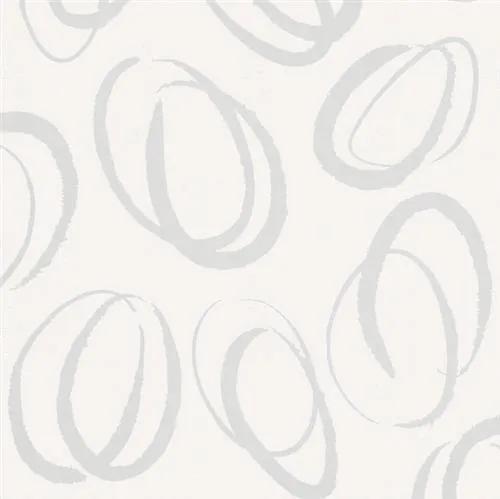 Vliesové tapety na stenu Ella 6755-20, oválky biele, rozmer 10,05 m x 0,53 m, Marburg