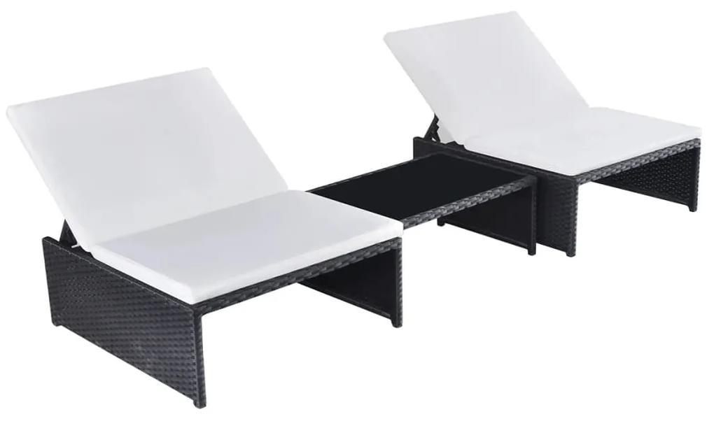 vidaXL Záhradné ležadlá 2 ks so stolíkom, polyratan, čierne