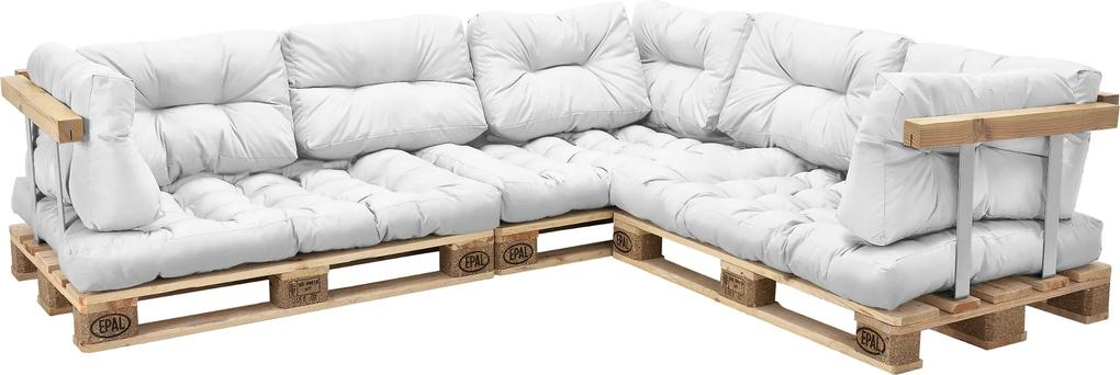 [en.casa]® Paletový interiérový nábytok - 3 x sedák, 8 x vankúš - biele