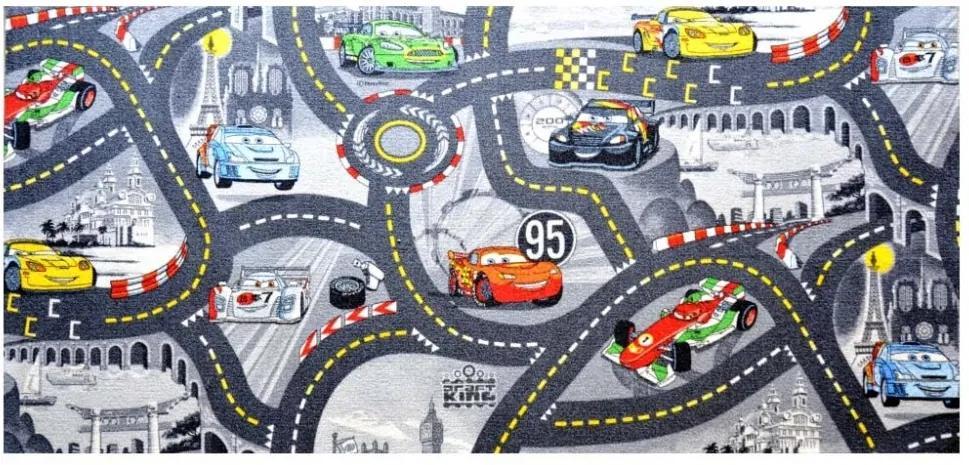 Vopi koberce Kusový koberec The World of Cars 97 šedý - 80x120 cm