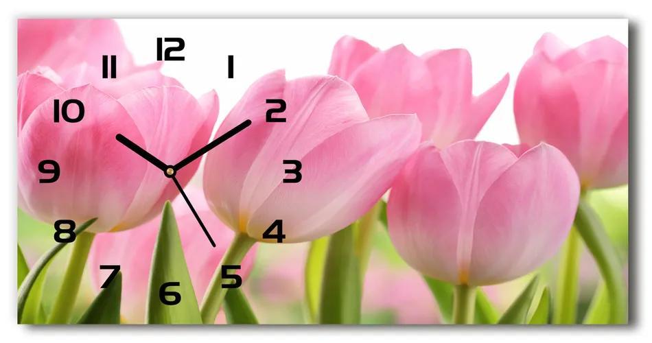 Sklenené hodiny na stenu Ružové tulipány pl_zsp_60x30_f_76775867