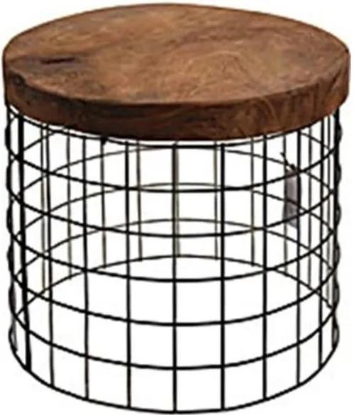 Sconto Prístavný stolík TRIEN 2 teakové drevo/kov, priemer 40 cm