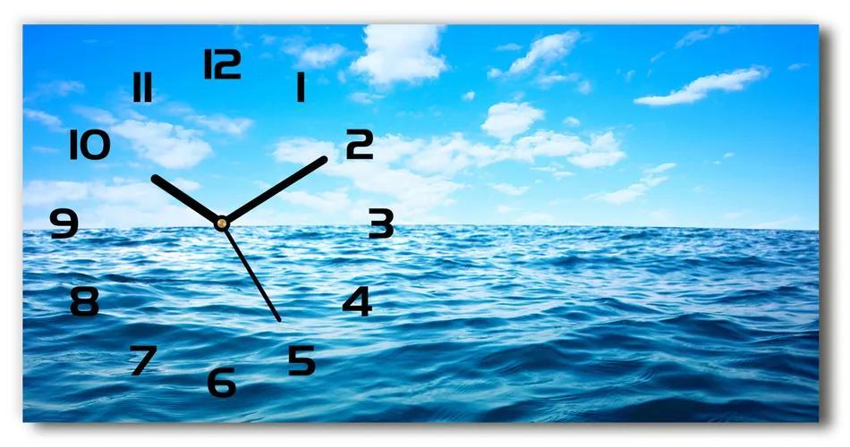Moderné sklenené hodiny na stenu Morská voda pl_zsp_60x30_f_104561146