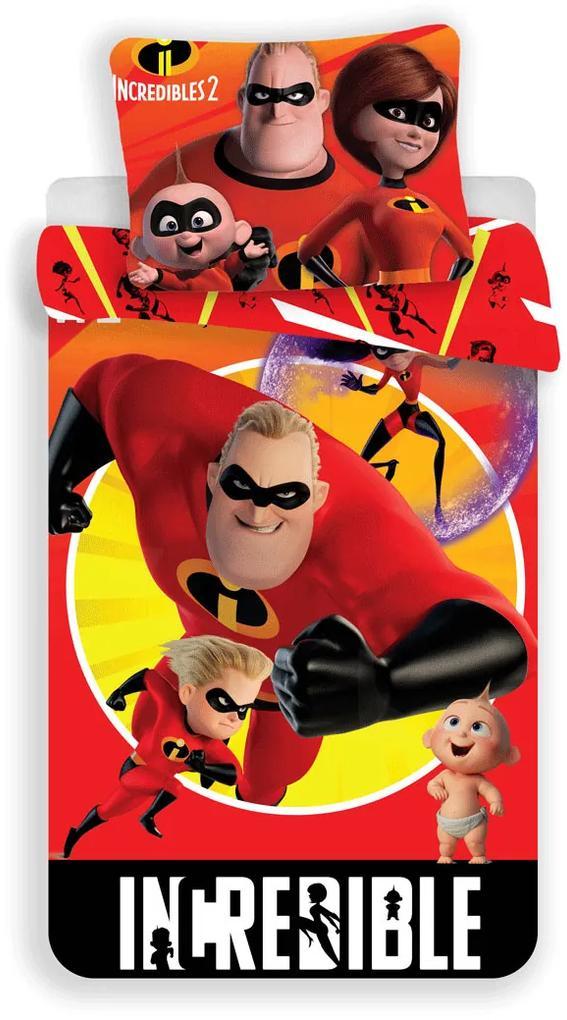 Detské obliečky Incredibles - Rodinka Úžasných 140x200 70x90 cm 100% Bavlna Jerry Fabrics